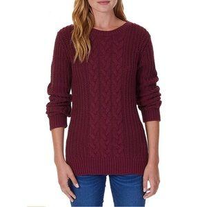 Nautica  Burgundy Single Cable Knit Tunic Sweater